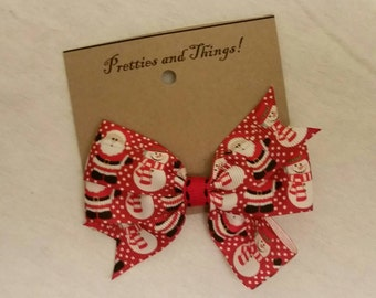 Santa Claus, Snowman, hair bow, Red, white, lined single prong alligator clip.