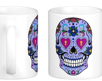 Day of the Dead, Sugar Skulls, Dia de los Muertos, Candy Skull mug,  gothic skull gift, Mexican art , personalised skull mug, halloween mug