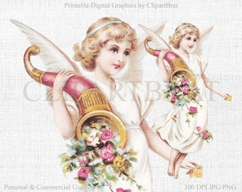 BEAUTIFUL FLORAL ANGEL Clipart Commercial Use Clipart Angel Victorian Die cut Clipart Fabric Transfer Shabby Chic Angel Graphic Jpg/Png