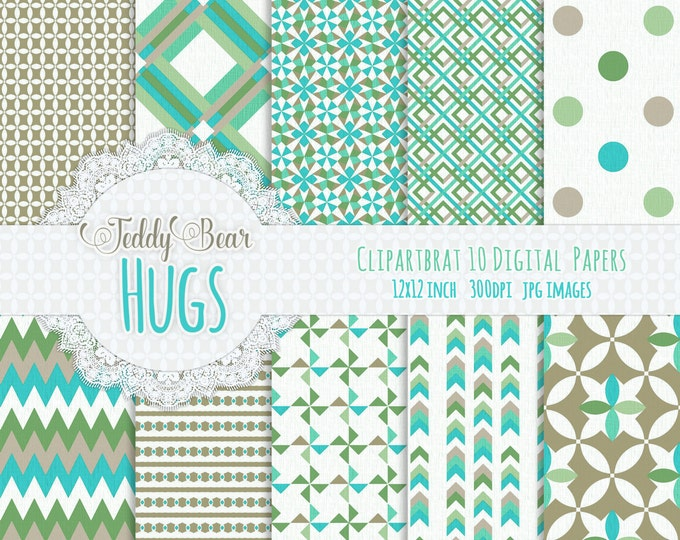 KHAKI & MINT Digital Paper Pack Commercial Use Digital Background Papers Teddy Bear Hugs Paper Pack Geometric Printable Background Papers