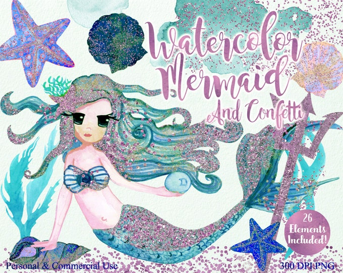 TEAL WATERCOLOR MERMAIDS Clipart Commercial Use Clipart 26 Elements Blush Pink Confetti Mermaid Shells Starfish Ocean Watercolor Clip Art