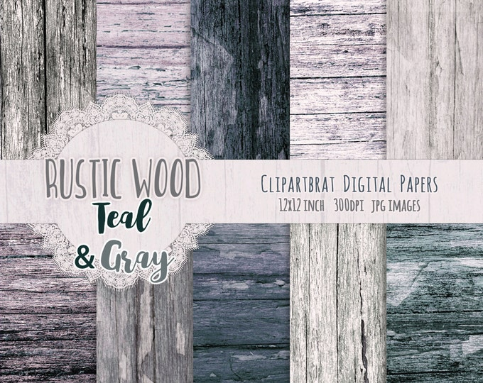 TEAL & GRAY WOOD Digital Paper Pack Commercial Use Digital Background Distressed Barn Wood Paper Painted Wood Grain Scrapbook Paper Pack