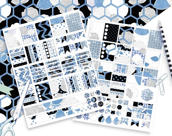 BLUE FLORAL Digital Sticker Sheets Black White Gray Silver Metallic Flower Stripe Roses Printable Planner Stickers Erin Condren Stickers