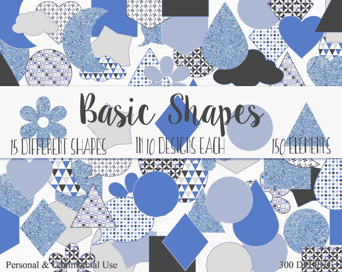 SHAPES CLIPART Commercial Use Clip Art Gray Silver & Blue Circles Flowers Triangles Hexagons Stars Planner Sticker Clipart Shape Graphics