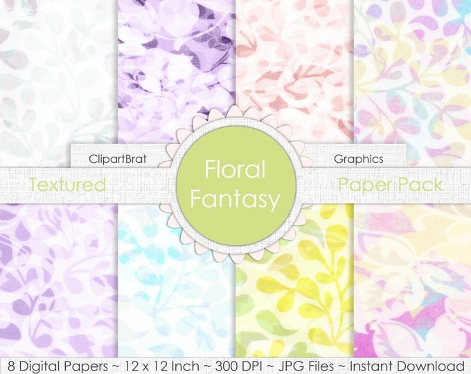 Floral Fantasy LINEN FLORAL Digital Paper Pack Commercial Use Digital Backgrounds Linen Digital Background Paper Printable Scrapbook Paper
