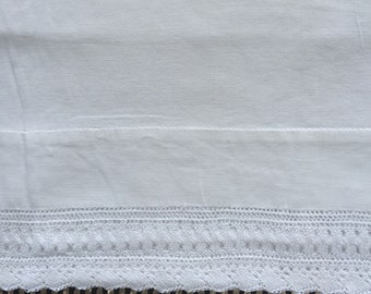 Vintage pillowcase white on white 18x31