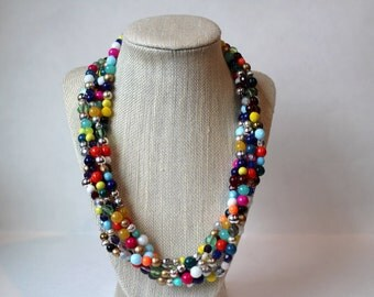 Mixed Confetti Beaded Necklace, Colorful Statement Necklace, Multi Strand Statement Necklace, Chunky Beaded Necklace, Mixed Bead Necklace