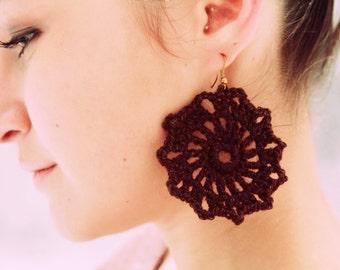 Crochet Earrings, Brown,100% Cotton