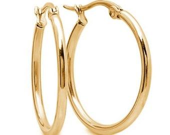 Versatile 1 Inch Stainless Steel Goldtone Hoop Earrings Highly Popular