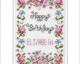 Happy Birthday cross stitch card kit