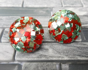 Retro Vintage Clip Earrings Red Silver Chiclet Squares