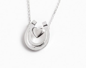 """Equestrian necklace """"The heart inside the horseshoe open to the sky"""" in 925 silver sterling"""