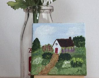 Mini original 3x3 acrylic painting of cottage garden