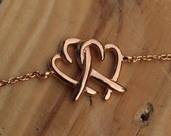 Plain Double Heart Bracelet 925 Silver Yellow Rose Gold