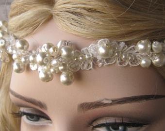 Wedding Bridal Headband, Handmade hairband, Romantic pearl  lace headpiece, bridal pearl headband, hair,  accessories bridal