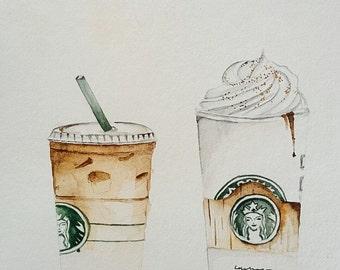 Starbucks coffee watercolor print. Print of original watercolor painting.