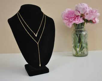 2 Layered CZ V necklace and Pyramid Y Necklace Gold, Silver, Rose Gold Layered necklace set