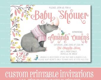 Custom BABY SHOWER Invitation, Rhino Baby Shower Invitation, PRINTABLE, Baby Shower, Invitation, Girl, Digital File, Rhinoceros, Watercolor