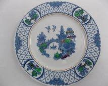 Side plate english vintage Losol Ware Willow Keeling & Co Ltd Burslem England 17 cm early 20th century painted with china pagode water scene