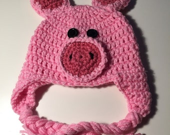 Homemade Pig Crochet Hat