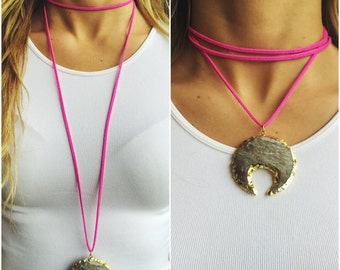 Hot Pink Suede 'Wrap It Your Way' Necklace with Jasper Pendant