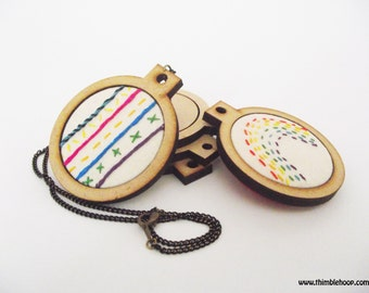 Mini embroidery hoop necklace sewng kit