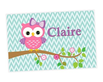 Owl Personalized Placemat - Turquoise Chevron, Pink Purple Owl Kids Personalized Laminated Placemat, You Pick Owl - Kids Personalized Gift