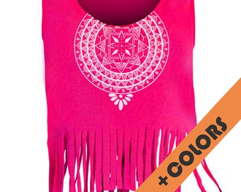 fringed shirt suspenders woman pink/black/white mandala illustration