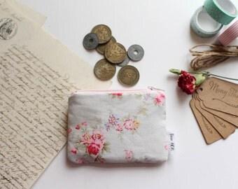 Mini Pouch, Coin Purse, Colourful Pouch, Zipper Pouch, Cotton Pouch - Floral Print