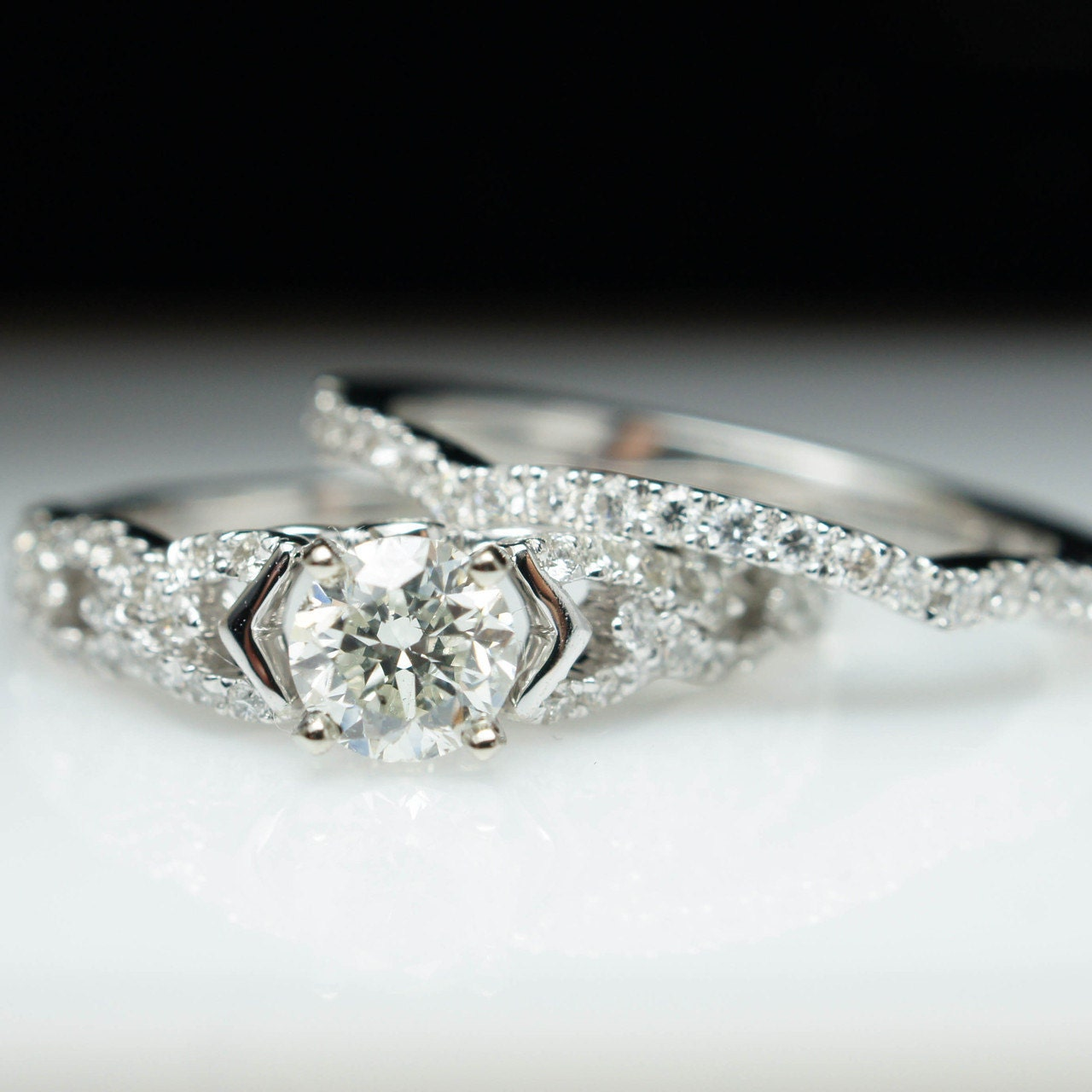 Vintage Style Bridal Set 1ct Solitaire Diamond Engagement Ring