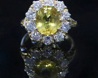 Antique Yellow Sapphire & Diamond Ring:  5ct Yellow Sapphire 1.60ct Diamonds