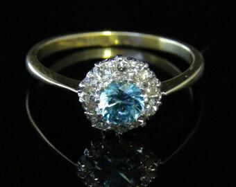 Antique Edwardian Blue Zircon & Diamond Cluster Ring