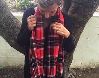 Christmas Gift Red and black Plaid Scarf, Plaid red scarf, Red Tartan scarf, fashion scarf, women accessories