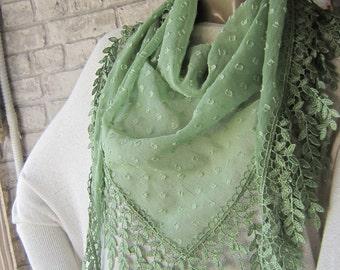 Women Green  Fringe Scarf/ Triangle Scarf ,Fringe Shawl , fashion shawl scarf, summer fashion