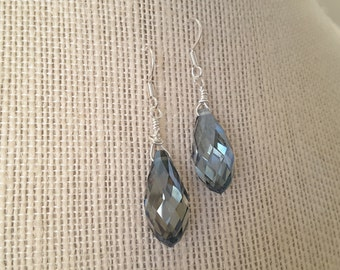 Cloudy Blue Teardrop Briolettes . Earrings
