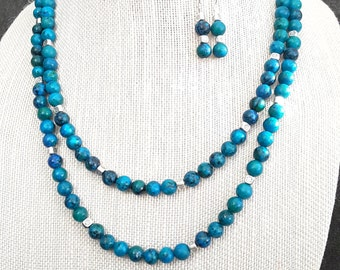 Mixed Blues and Silver Necklace and Earring Set