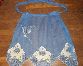 "Vintage Sheer Blue & ""Hankie"" Apron"
