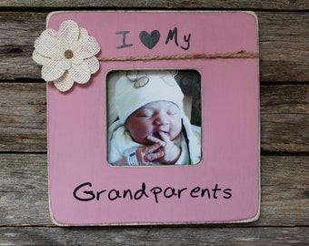 Grandparents Picture Frame I Love My Grandparents Rustic Picture Frame Pink Photo Frame