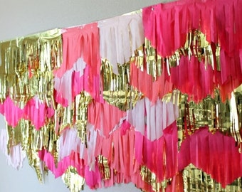 Pink ombré and gold backdrop and Garland streamers