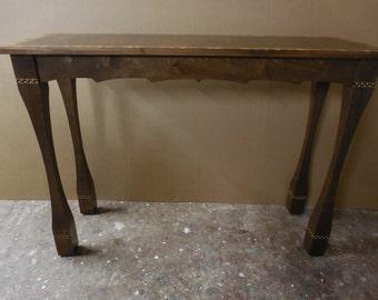Sofa  /  wall  table;  custom made;  burl walnut top.