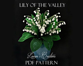 PDF Pattern - French Beaded Lily of the Valley, seed bead flower tutorial, Lauren's Creations patterns, DIY beading project, wire wrapping