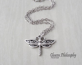 Dragonfly Necklace - Antique Silver Jewelry - Small Dragonfly Charm - Insect Jewelry