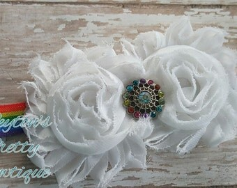 Rainbow Shabby Flower Elastic Headband, Rainbow Rhinestone Center