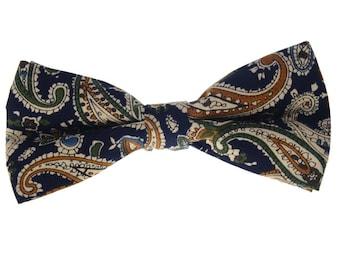 Mens Bowtie.Paisley Bowtie with Dark Blue Base.Cotton Bowtie.Prom Bowtie.Wedding Accessories.