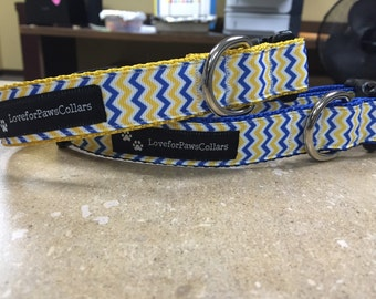 CCI Blue and Yellow Zig Zag 1 inch Collar