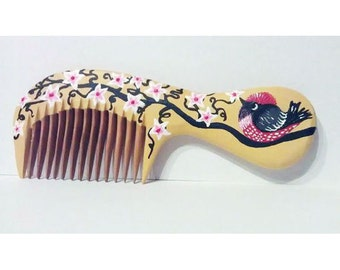 Hand painted wooden comb Bird and curly tree customized comb, wood comb, birthday gift, baby gift, cute bird, blossom