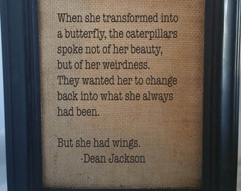 Dean Jackson Quote/She Had Wings/The Poetry of Oneness/Love Quotes/Inspirational Quote/Inspirational Art/Empowering Art