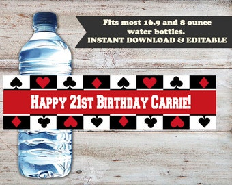 Poker Water Bottle Wrappers, Poker Wrappers, Casino Birthday, 21st Birthday Favors, Casino Night, Poker Night, EDITABLE, INSTANT DOWNLOAD