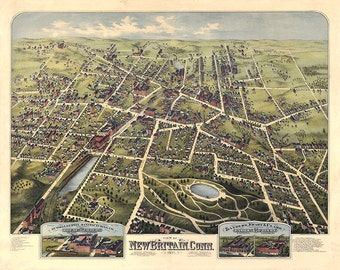 New Britain, Hartford County, Conn., Connecticut CT 1875.   Bailey, Vogt, Knauber.  Reproduction Vintage Bird's eye view map print.