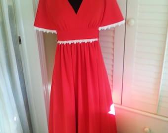 Vintage Red dress, vintage red gown, vintage red 1970's dress, 1970's dress, 1970's gown, vintage long dress